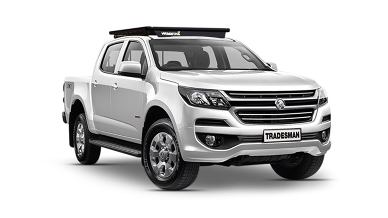 Holden Colorado with Wedgetail roof rack installed as vehicle hero image.