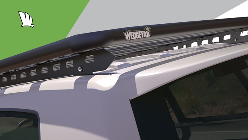 Rear view of Wedgetail roof rack installed on Toyota LandCruiser 200 Series showing a mounting point on the one piece rail and the strong platform attached.