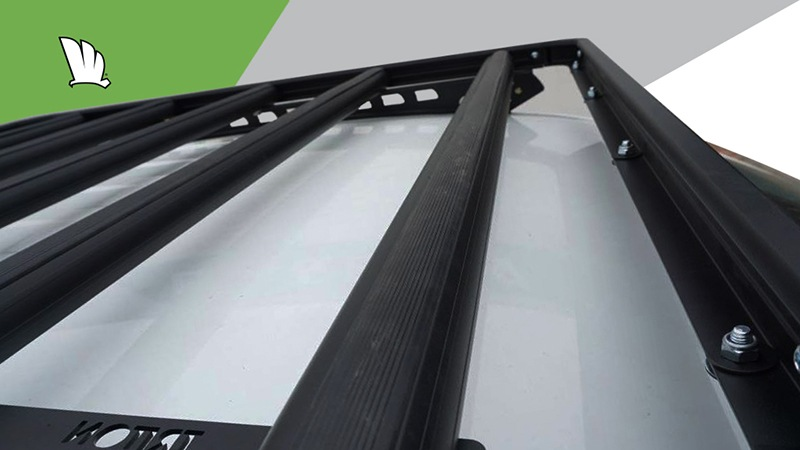 Wedgetail rack installed on the roof of a Volkswagen Amarok and showing the five crossbars used to make it extra strong.
