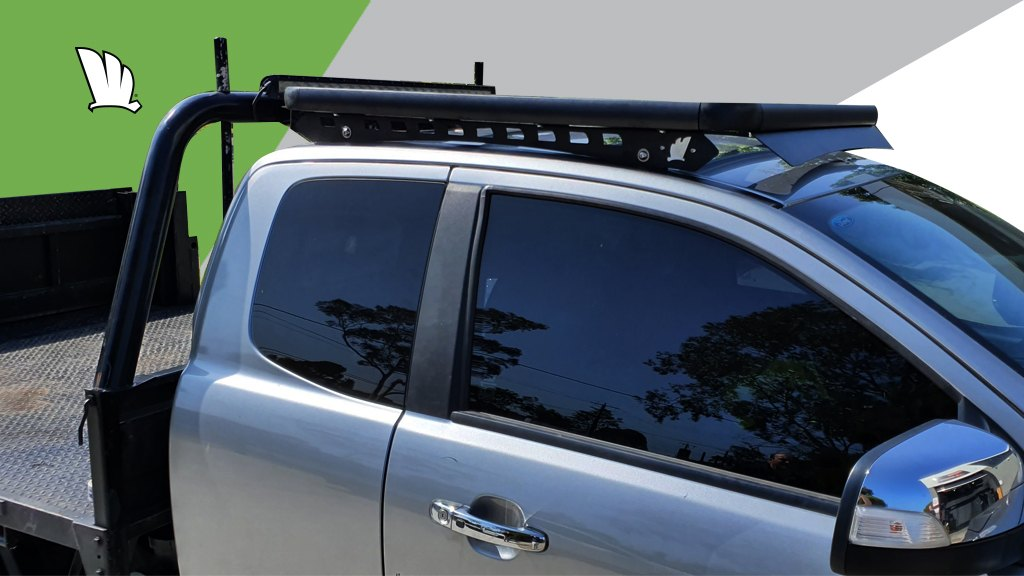 Ford Ranger Extra Cab with Wedgetail roof rack installed.