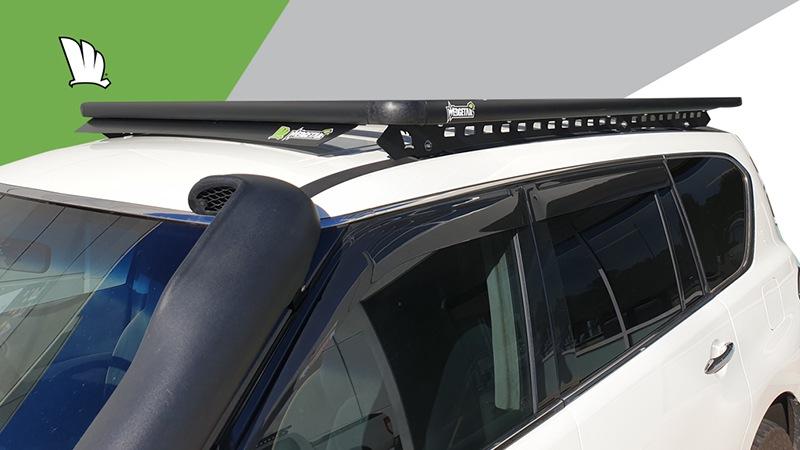 Nissan Patrol Y62 with Wedgetail roof rack installed.