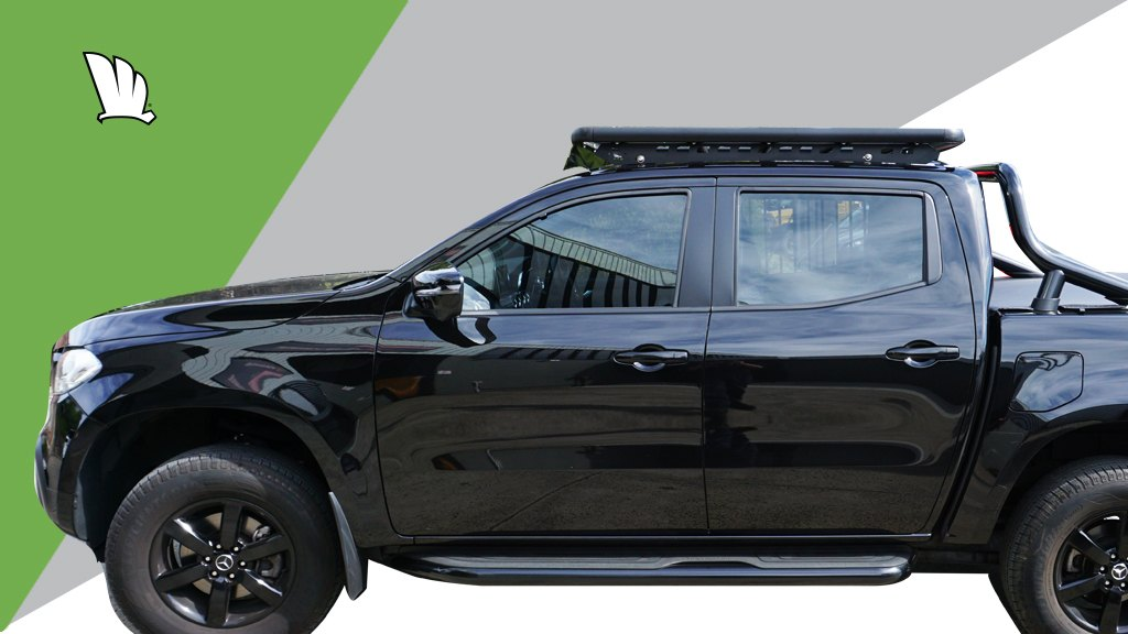 Mercedes-Benz X-Class with Wedgetail roof rack installed.