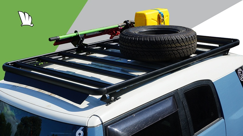Toyota FJ Cruiser with a Wedgetail roof rack installed.