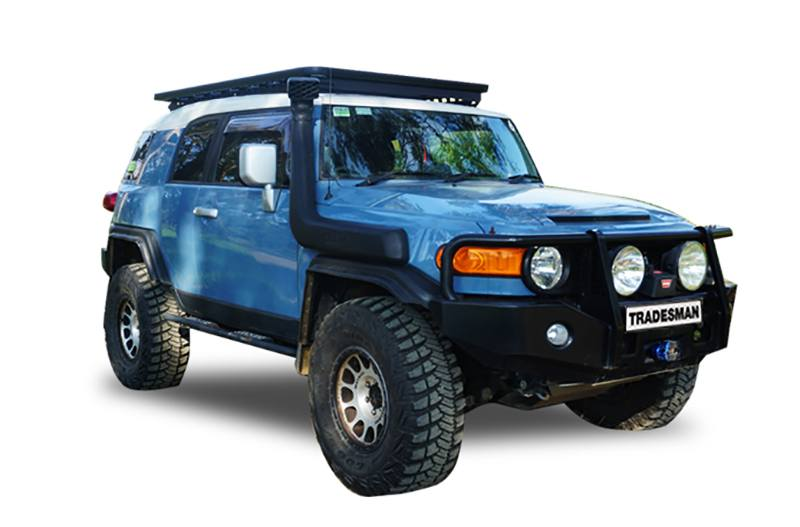 Toyota FJ Cruiser with a Wedgetail roof rack installed hero image.