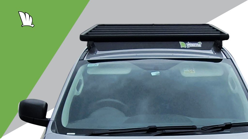 Mazda BT-50 front view of the cabin with a Wedgetail platform roof rack installed on the roof.