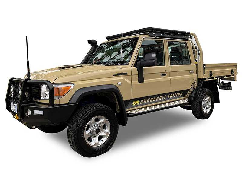 Hero image from front corner of a Toyota LandCruiser 79 Series dual cab with a Wedgetail roof rack installed.