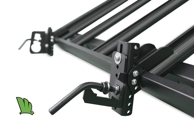 Hi-Lift jack holder in place on the side of a Wedgetail roof rack.