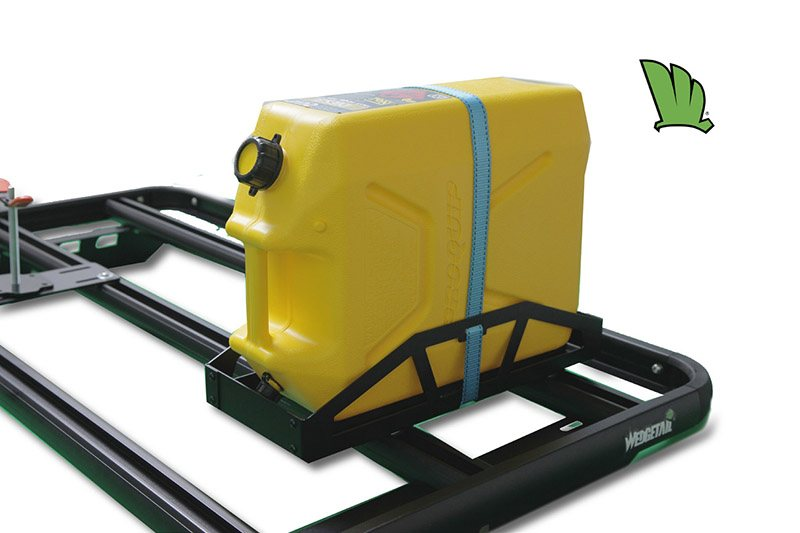 Jerrycan holder with a Jerrycan in place on a Wedgetail roof rack.