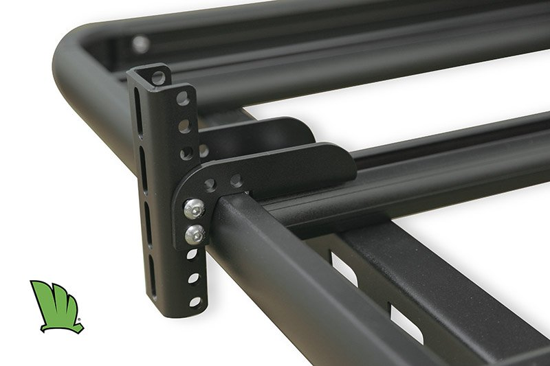 Adjustable awning mount attached to a cross bar of the Wedgetail rack.