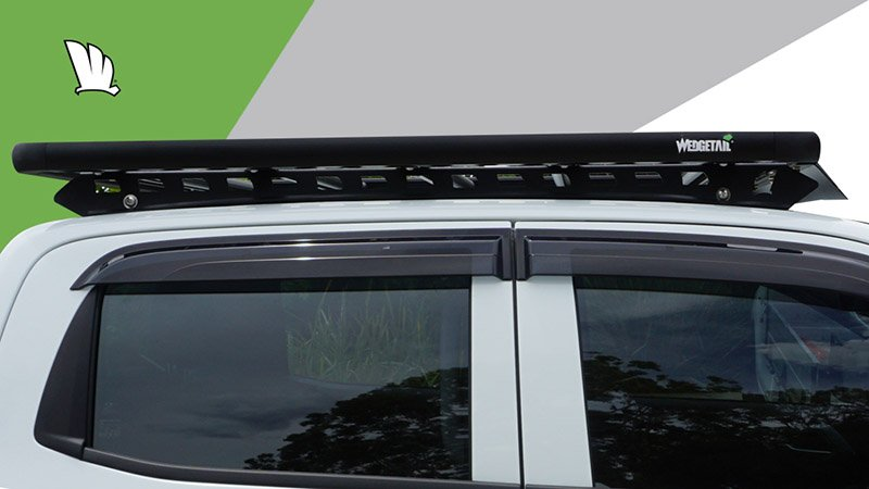 Side view of 2020 D-Max with a Wedgetail rack installed showing wind deflector and one piece mounting rails.