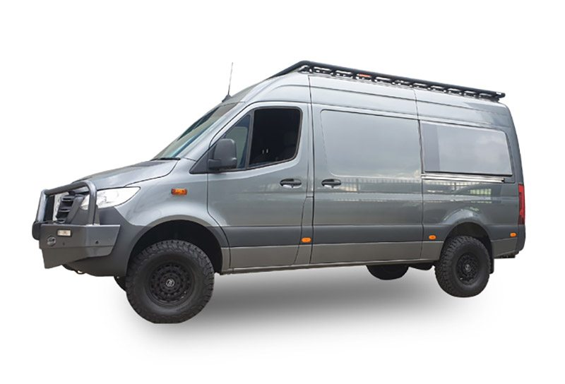 Mercedes-Benz Sprinter with a Wedgetail roof rack installed – hero image.