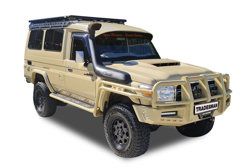 Toyota LandCruiser Troop Carrier 70 Series with a Wedgetail rack installed – Hero image.