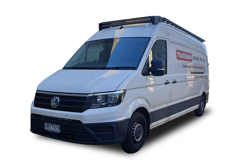 Volkswagen Crafter long wheel base van with a Wedgetail roof rack installed – hero image.