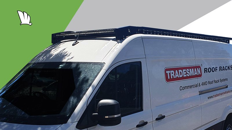 Volkswagen Crafter with Wedgetail roof rack installed showing the full length of the rails and the roof rack platform.