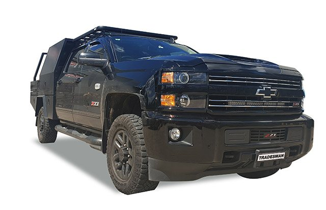 Chevrolet Silverado 1500 with a Wedgetail roof rack installed on the cabin roof.