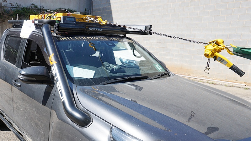 A Wedgetail roof rack in the process of being stress tested.