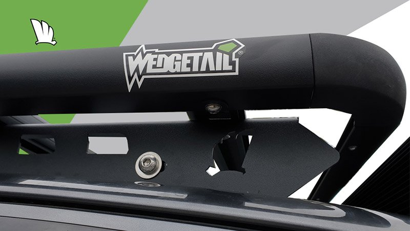 Front corner of Wedgetail rack showing the one piece mounting rail and the corner of the rack with a cross bar of the platform bolted to the mounting rail.