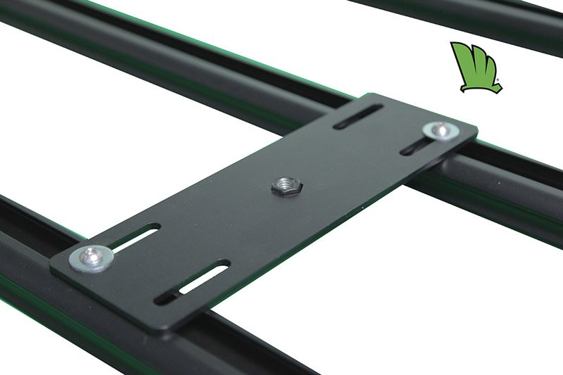 Gas bottle holder base plate is manufactured out of 5 mm steel plate and powder coated to prevent corrosion. It is fixed to the crossbars of the Wedgetail rack using two 8 mm stainless steel bolts.