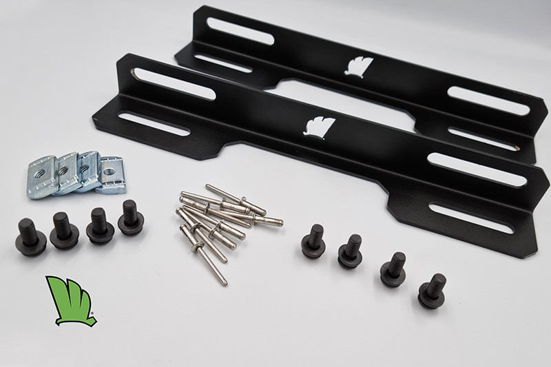 The solar panel mount kit consists of two right angle brackets, eight 8 mm stainless steel bolts, four crossbar inserts and eight aluminium rivets.