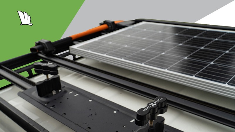 Image of a Wedgetail rack showing a solar panel mounted on the rack using the solar panel mount kit.